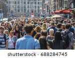 huge crowd of people at damrak... | Shutterstock . vector #688284745