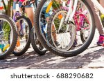 Group Of Kids Bicycles Standin...