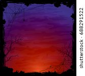 night halloween background with ... | Shutterstock . vector #688291522
