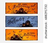 lettering happy halloween on...   Shutterstock . vector #688291732