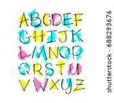 handwritten alphabet with...