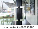 restaurang door handle with... | Shutterstock . vector #688295188
