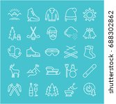 set of line icons  sign and... | Shutterstock . vector #688302862