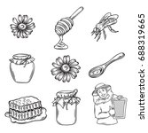 vector hand drawn honey icons... | Shutterstock .eps vector #688319665