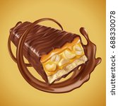 sweet chocolate bar with nuts...   Shutterstock .eps vector #688330078