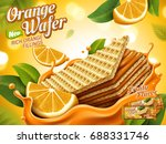 orange wafer ads  crunchy... | Shutterstock .eps vector #688331746