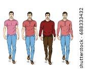 vector set of sketch fashion... | Shutterstock .eps vector #688333432