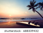 silhouette surfboard on... | Shutterstock . vector #688339432