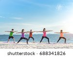 young group man and woman yoga... | Shutterstock . vector #688341826