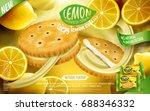 lemon sandwich cookies ad ... | Shutterstock .eps vector #688346332