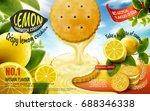 lemon sandwich cookies ad with... | Shutterstock .eps vector #688346338