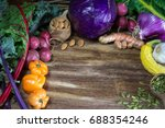 fresh local vegetables on a... | Shutterstock . vector #688354246