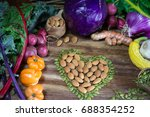 vegetable table with heart... | Shutterstock . vector #688354252