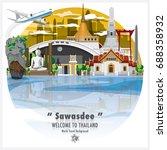 kingdom of thailand landmark... | Shutterstock .eps vector #688358932