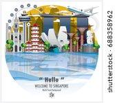 republic of singapore landmark... | Shutterstock .eps vector #688358962