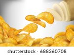 potato chips background  tasty... | Shutterstock .eps vector #688360708