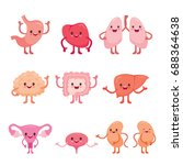human internal organs cartoon... | Shutterstock .eps vector #688364638