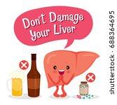 liver human internal organ... | Shutterstock .eps vector #688364695