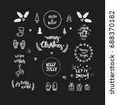 hand drawn christmas icons for... | Shutterstock .eps vector #688370182