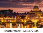 night view of old sant' angelo... | Shutterstock . vector #688377235