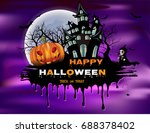 halloween night background with ... | Shutterstock .eps vector #688378402