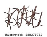 Rusted Barbed Wire Isolated On...