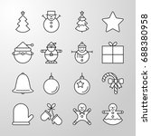 set of simple christmas party... | Shutterstock .eps vector #688380958