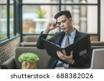 tired business man accountant... | Shutterstock . vector #688382026