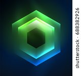 techno glowing glass hexagons... | Shutterstock . vector #688382926