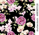 Stock photo beautiful watercolor pattern with orchid and peony flowers illustration 688385518