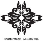 swirl doodle floral butterfly ... | Shutterstock .eps vector #688389406