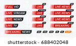 live tv news red tag icon with...