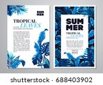 tropical palm leaves background.... | Shutterstock .eps vector #688403902
