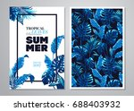 tropical palm leaves background.... | Shutterstock .eps vector #688403932