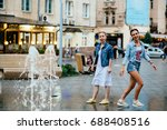 full height of two hipster... | Shutterstock . vector #688408516