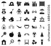 nice childhood icons set