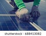 electrician working on ... | Shutterstock . vector #688413082