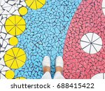feet selfie with silver shoes... | Shutterstock . vector #688415422