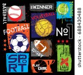 sport print for t shirts ... | Shutterstock .eps vector #688430488