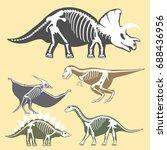 dinosaurs skeletons silhouettes ... | Shutterstock .eps vector #688436956