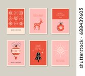 set of decorative christmas... | Shutterstock .eps vector #688439605