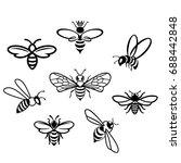 Honey Bee Set. Vector. Set Of...