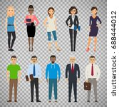 business dressed and casual... | Shutterstock .eps vector #688444012