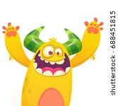 cartoon yellow furry monster.... | Shutterstock .eps vector #688451815