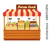 market wood stand with farm... | Shutterstock .eps vector #688451896