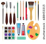 different materials for artists....   Shutterstock .eps vector #688453315
