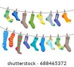 colorful fun socks set hang on... | Shutterstock .eps vector #688465372