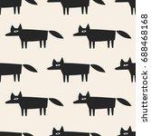 seamless pattern fox art... | Shutterstock .eps vector #688468168