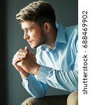 side view of young handsome man ... | Shutterstock . vector #688469902