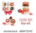 set of watercolor donuts logos. ... | Shutterstock . vector #688472542